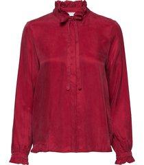 shirt w. ruffle and bow blus långärmad röd coster copenhagen