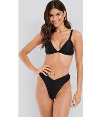 na-kd swimwear ribbed v shape bikini bottom - black