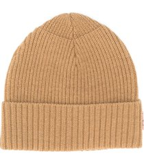 acne studios melange ribbed beanie - brown