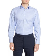 men's big & tall nordstrom men's shop traditional fit non-iron dot dress shirt, size 18.5 - 34/35 - blue