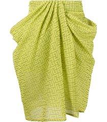 balmain draped printed skirt - green