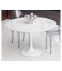 mesa saarinen de jantar redonda - base branca e tampo de mármore carrara (diâmetro 107 cm)