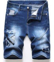 parche liso de moda para hombre diseño pantalones cortos con cremallera jeans