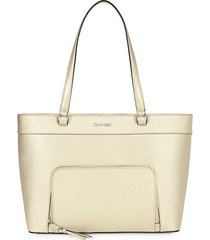 east-west zip-pocket leather tote