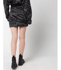 kenzo women's 'cheetah leopard' mini skirt - mist grey - l