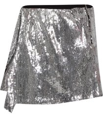 alberta ferretti silver girl skirt with ruffle