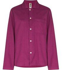 tekla long-sleeve cotton pajama shirt - purple