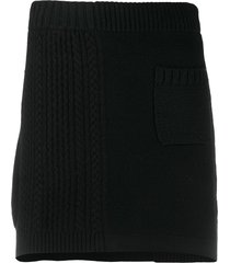 barrie ribbed panel mini skirt - black