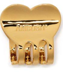 ambush logo-engraved heart hair clip - gold