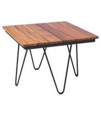 mesa de madeira quadrada tramontina 14525051 tarsila teca marrom