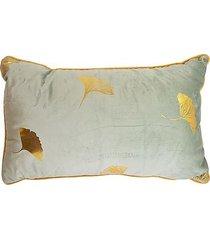 poduszka welurowa miłorząb japoński szara