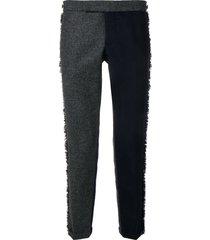thom browne frayed edges skinny trouser - grey