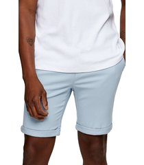 men's topman stretch skinny chino shorts, size 28 - blue
