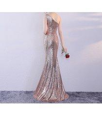 rose gold one shoulder sequin dress women plus size mermaid maxi sequin dresses