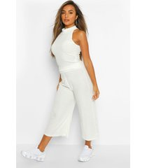petite soft rib racer top & culottes co-ord, ivory