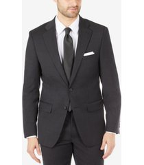 calvin klein men's mini check skinny-fit wool blend suit jacket