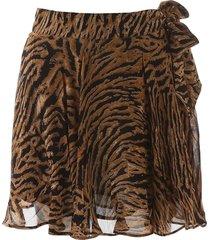 ganni tiger print mini skirt