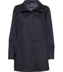 coats woven dunne lange jas blauw esprit collection