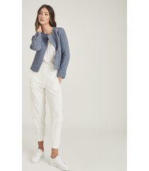 reiss essie - cropped boucle jacket in blue, womens, size 14