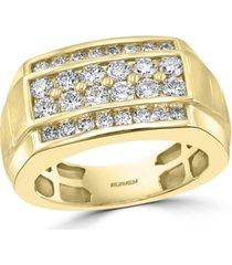effy men's diamond elevated cluster ring (1-1/2 ct. t.w.) in 14k gold