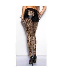 sexy glanzende leggings met zakken luipaard
