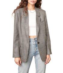 women's bb dakota hot shot boyfriend fit blazer, size small - grey