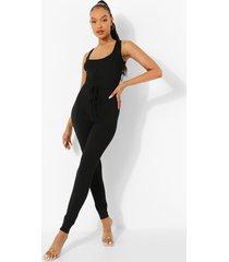 geribbelde skinny fit jumpsuit met ceintuur, black
