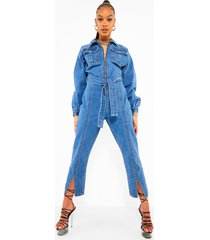 denim jumpsuit met grote mouwen en split, mid blue