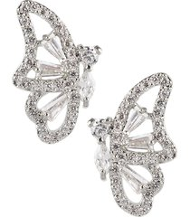 cz by kenneth jay lane women's animal trend rhodium-plated & crystal butterfly earrings