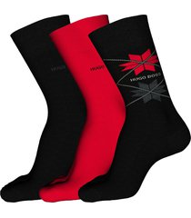 men's boss 3-pack assorted crew socks gift set, size one size - black