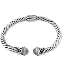 effy diamond cable cuff bangle bracelet (1/4 ct. t.w.) in sterling silver & 18k gold