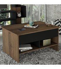mesa de centro articulada popup nogueira/preto - appunto