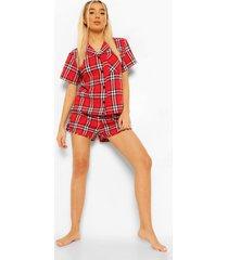 woman gestreepte flanelen pyjama set met shorts, red