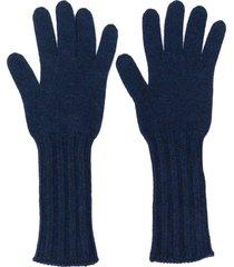 pringle of scotland ribbed scottish gloves - blue