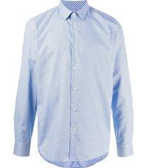 boss micro motif shirt - blue
