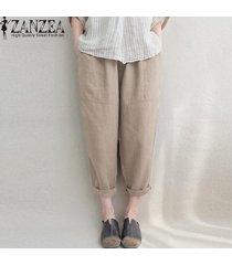 zanzea pantalones de lino de algodón bolsillos laterales de cintura elástica pantalones largos sólidos -beige