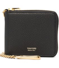 tom ford zip-up leather wallet - black