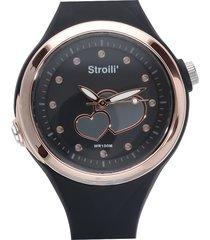 orologio solo tempo cinturino in silicone nero e cassa in acciaio per donna