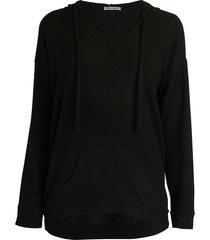 theo & spence women's yummy v-neck hoodie - heather grey leopard - size m
