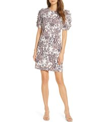 women's eliza j paisley puff sleeve linen blend shift dress