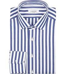 camicia da uomo su misura, grandi & rubinelli, blu riga larga natural stretch, quattro stagioni | lanieri