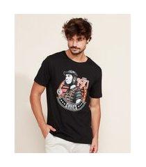 camiseta masculina chaves manga curta gola careca preto