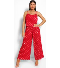 foiled spot strappy jumpsuit, red