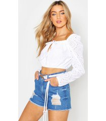broderie anglaise peasant top, white