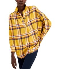 french connection rhodes cotton checked popover top