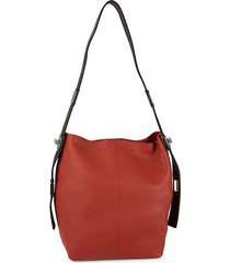 textured leather hobo shoulder bag