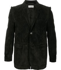 saint laurent leather stitched blazer - black