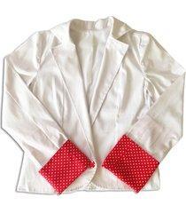 casaco liminha doce bolinhas branco