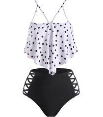 polka dot strappy flounce overlay criss cross tankini swimwear