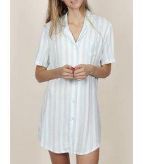 pyjama's / nachthemden admas nachthemd klassiek stripes blauw